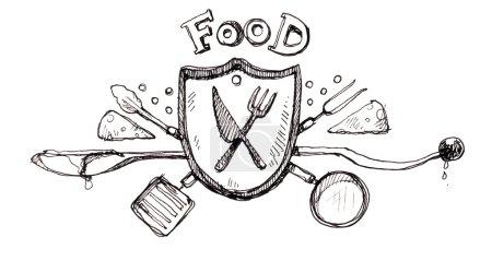 Photo pour Icône alimentaire logo drawin - image libre de droit
