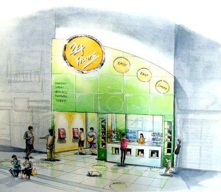 Photo pour Boutique voisin supérette dépanneur ouvert 24-7 - image libre de droit