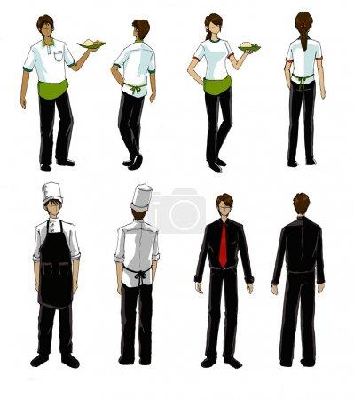 Restaurant people and uniform illustration