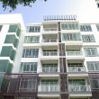 Modern condominium, apartment with white and lot o...