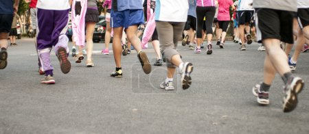 Photo for Marathon start, shoes runner no face - Royalty Free Image