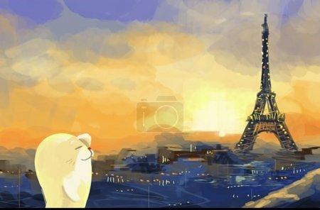 Photo pour Paris, tour eiffel à l'illustration de la caricature du coucher du soleil - image libre de droit