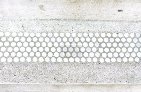 Photo for White and blue vintage tiles on cement floor - Royalty Free Image