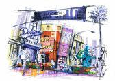 Universal studio city walk illusztráció