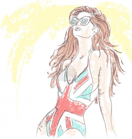 Fashion girl in a bathing suit and sunglasses