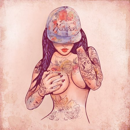 Casual girl in a cap and tattoos, with body art