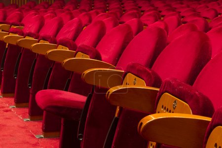 Photo for Empty red seats for cinema, theater, conference or concert - Royalty Free Image