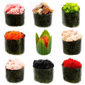 different sushi on white background: Smelt roe, flying fish roe,