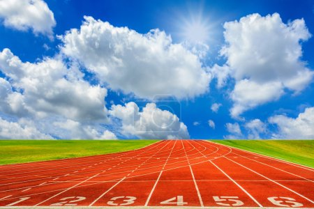 Photo for Running track with sky and clouds - Royalty Free Image
