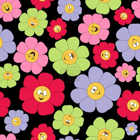 Seamless pattern with smile and flofers