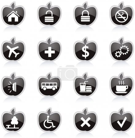 Diet and fitness theme icons set