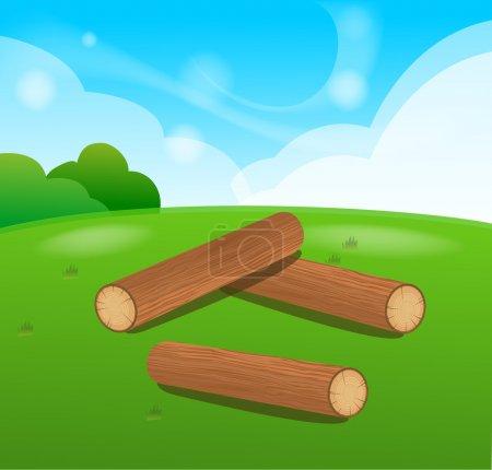 Illustration pour Grumes en bois Objets vectoriels isolés - image libre de droit