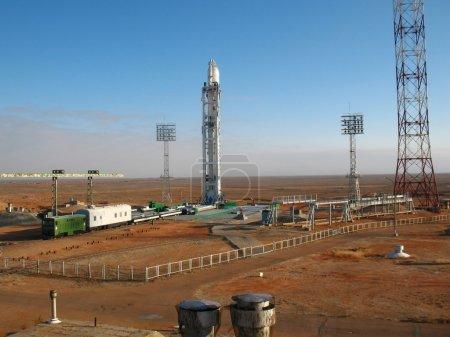 Photo for Baikonur rocket launch. Spaceship. - Royalty Free Image