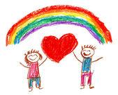 šťastní lidé. děti kresby