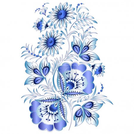 Illustration for Russian national floral pattern in style Gzhel (a flowers of Russian ceramics, painted with blue on white). VECTOR - Royalty Free Image