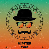 Hipster vector background Retro vintage label design Hipster theme label card Mustache Glasses and Bowler Hat Baroque ornaments and floral details Colorful Vector