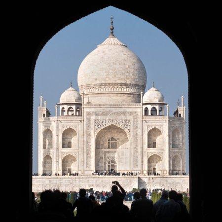 Tourists entering the Taj Mahal complex in Agra, India