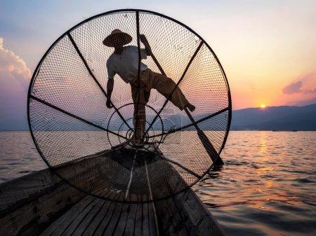 Fisherman in Inle Lake at Sunset, Inle, Shan State, Myanmar