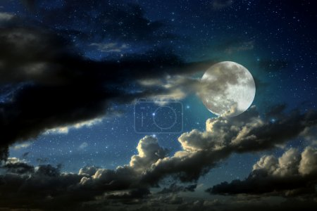 Photo for Illustration of an interesting full moon in a starry night with some clouds - Royalty Free Image