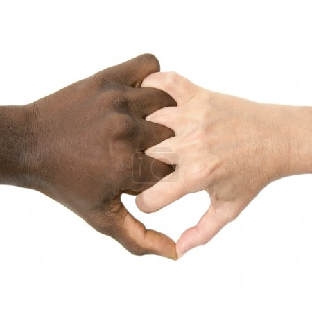 Mixity - Two joint hands symbolizing diversity - Isolated, detoured
