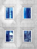 Architektura Londýn, obchodní čtvrti, úvahy o windows, černobílá