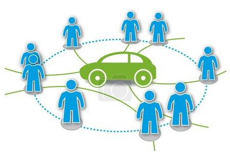 Photo pour Autopartage, covoiturage, autopartage, bouclier, district, co-voiturage, alternative, mobilité, partage de communauté, aucune recherche de place de parking, réservé, respectueux de l'environnement amical, innovant, simple, facile, eco, soucieux de l'environnement, abordable - image libre de droit
