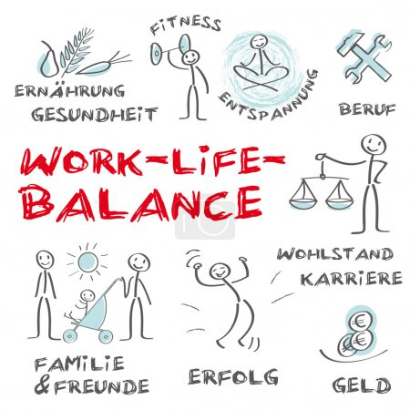 Illustration for Work life balance, work, life, health, nutrition, rest, relaxation, balance, life expectancy, employment, health, career, money, power, professional, success, prosperity, wealth, attention, recognition, contact, family friends, meet - Royalty Free Image