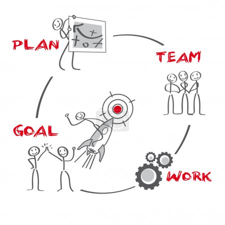 Illustration for Teamwork, team, team building, team player, success, successful, productivity, goal, analysis, problem, problem analysis, problem coping, problem management, supply, task, education, counseling, vocational, brainstorming, business, coaching - Royalty Free Image