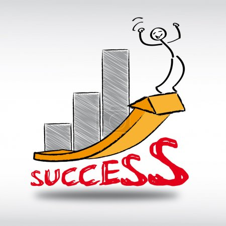Illustration for Success, successful, optimistic, analysis, supply, task, education, counseling, vocational, brainstorming, business, coaching, thinking process, experience, finance, company, trade, challenge, help, concentration, concept, conceptual, creativity - Royalty Free Image