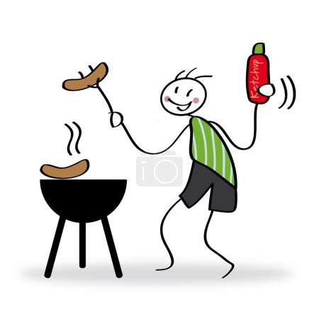 Illustration for Winter grilling, barbecue, barbeque, bbq - Royalty Free Image