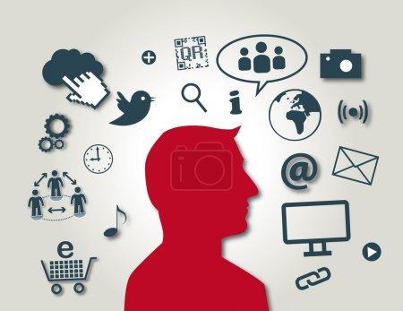 Illustration pour Médias sociaux, réseaux - image libre de droit