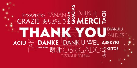 Illustration for Thank You Word Cloud in different languages. Red background - Royalty Free Image