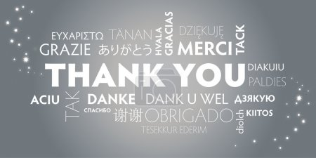 Illustration for Thank You Word Cloud in different languages. Silver Background - Royalty Free Image