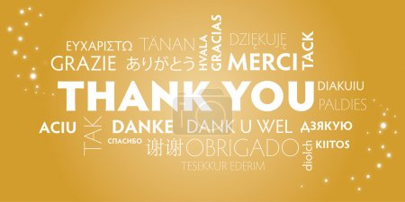 Illustration for Thank You Word Cloud in different languages. Golden Background - Royalty Free Image