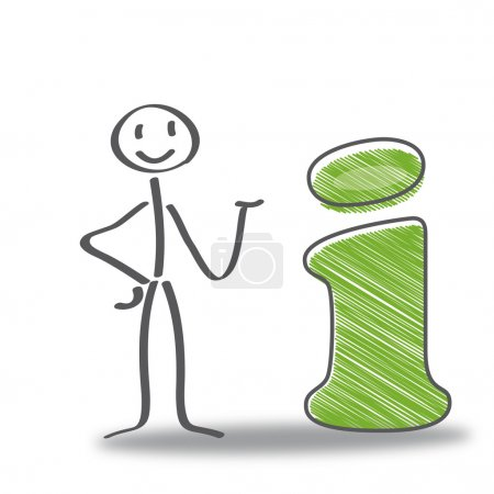 Illustration for Stick figure with sign, green colour - Royalty Free Image