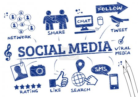 Illustration for Social media refers to interaction among people in which they create, share, and exchange information and ideas in virtual communities and networks - Royalty Free Image