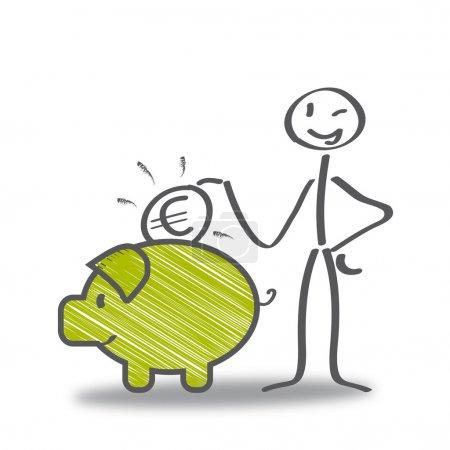 Illustration for Saver, money, finances. Stick figure with piggy bank - Royalty Free Image
