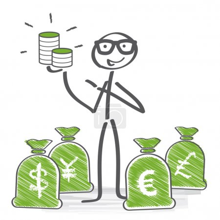 Illustration for Businessman standing between different currencies - Royalty Free Image