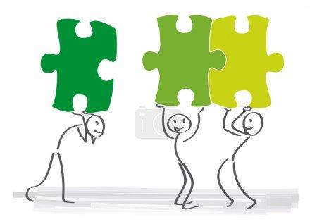 Puzzle, synergy, Teamwork