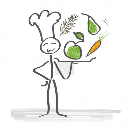 Illustration for Chef holding tray with various vegetables - Royalty Free Image