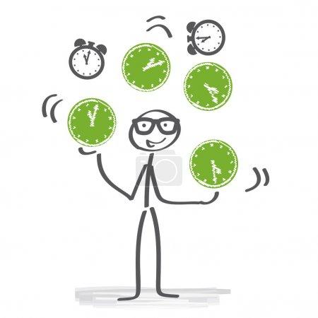 Illustration pour Stick figure jongler avec beaucoup de montres - image libre de droit