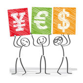 Three business people holding up signs with currency symbols