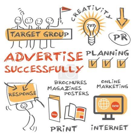 Illustration pour Conseils sur la façon de commercialiser et de promouvoir votre entreprise avec succès - image libre de droit