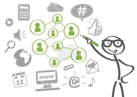 Illustration pour Un homme d'affaires dessine un concept de médias sociaux - image libre de droit