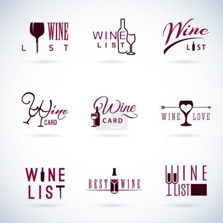 Illustration pour Ensemble d'icônes vectorielles de vin plat pour la nourriture et les boissons - image libre de droit