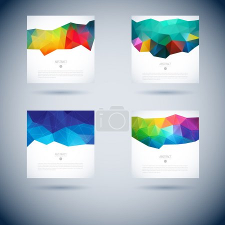 Set of abstract vector background with triangle ob...