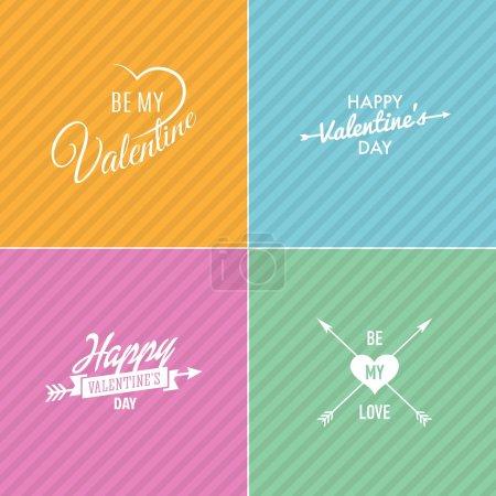 Illustration pour Carte de Saint Valentin heureux, je t'aime, type de police. modèle de conception vector - image libre de droit