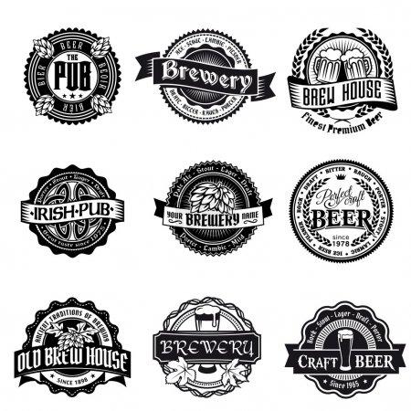 Illustration pour Ensemble rétro étiquette de style de bière. Bon comme modèle de publicité . - image libre de droit