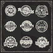 Retro styled labels of beer or brewery on a blackboard Good as a template of advertisement
