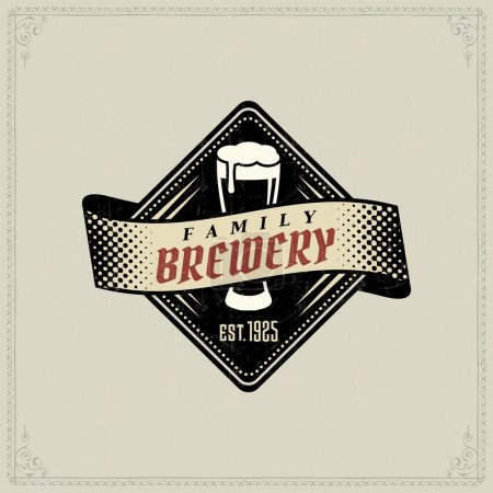 Illustration for Retro styled label of beer. Good as a template of advertisement. Editable layered vector. - Royalty Free Image